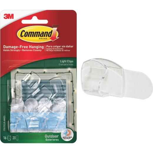 Command Clear Outdoor Light Clips with Foam Strips (16-Pack)