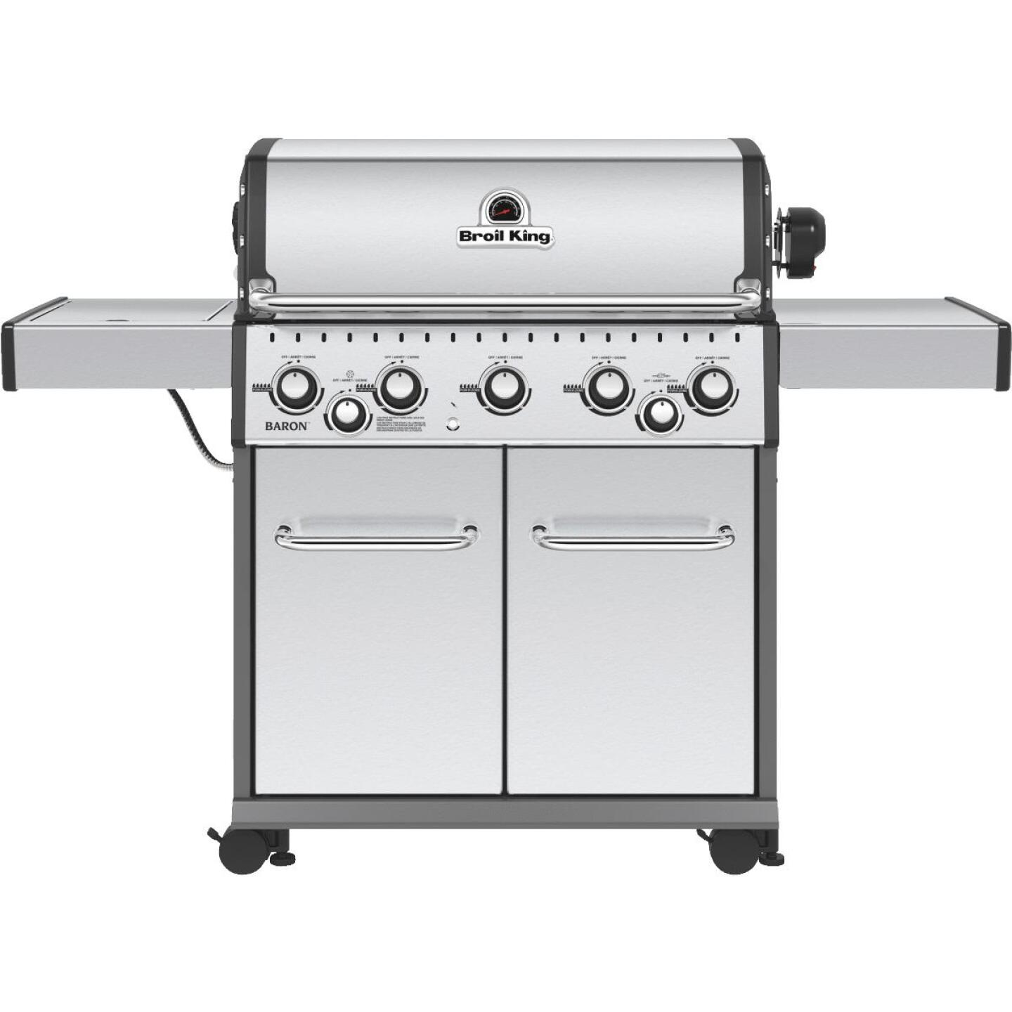 Broil King Baron S590 5-Burner Stainless Steel 50,000-BTU LP Gas Grill with 10,000-BTU Side Burner Image 1